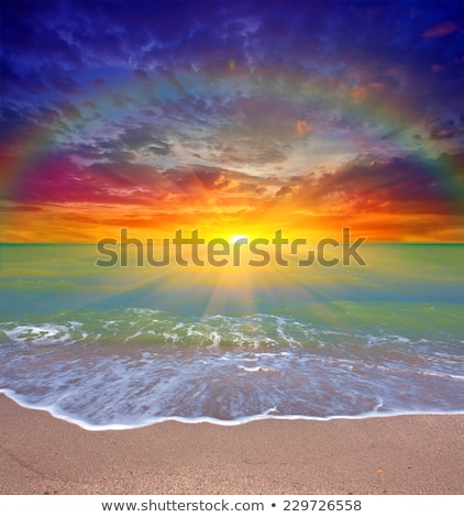Niebo tęczy morza wody chmury wiosną Zdjęcia stock © photocreo