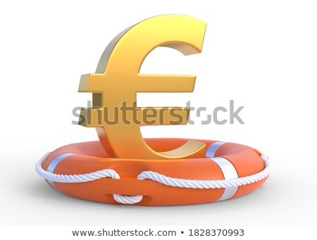 Stockfoto: Life Buoy Rescue Ring Helps Euro Currency Sign Crisis Concept