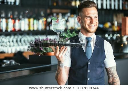 Foto stock: Sonriendo · camarero · papel · pluma · beber · servicio