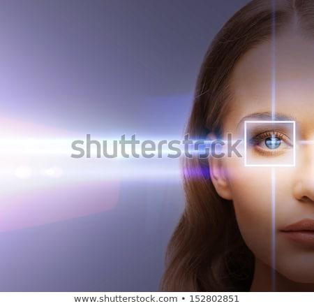 Nő fegyver szabadtér portré kéz keret Stock fotó © marylooo