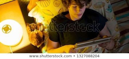 Yatak düşünme adam ev çocuk Stok fotoğraf © michey