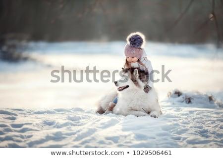 meisje · hond · winter · gelukkig · mooie · leggen - stockfoto © photography33