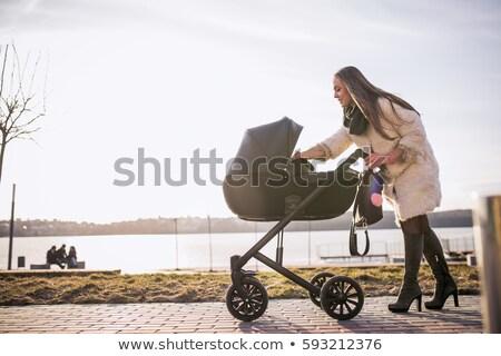 Moeder kinderwagen winter vrouw sneeuw kid Stockfoto © Paha_L