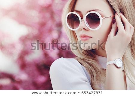 belle · femme · corail · lèvres · belle · jeune · femme · longtemps - photo stock © lubavnel