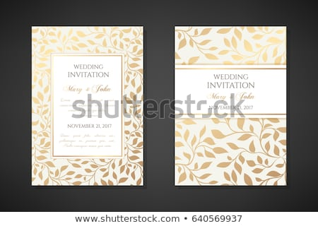 vintage frame card for invitation or congratulation with border lace stock photo © marimorena