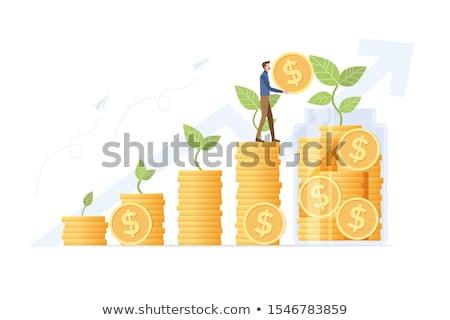 金融 · 4 · コイン · アップ · 成長 - ストックフォト © macropixel