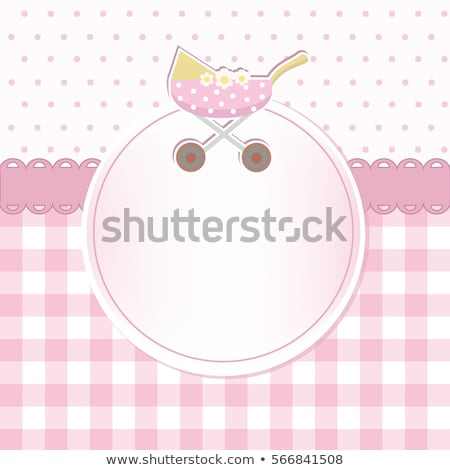 new baby girl announcement card with milk bottle and pacifier Stock photo © balasoiu