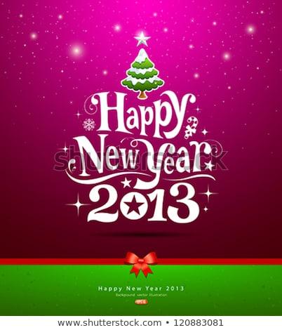 Happy New Year 2013 Green Vector Card Stok fotoğraf © Sarunyu_foto