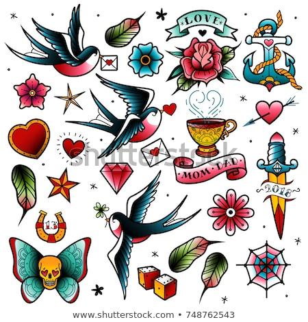 Flor tatuagem primavera rosa projeto folha Foto stock © creative_stock