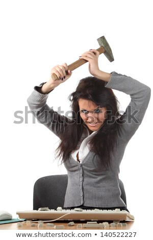 Woman threatening computer with hammer Stock photo © photography33