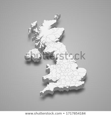 harita · Büyük · Britanya · yeşil · mavi · vektör · yalıtılmış - stok fotoğraf © cteconsulting