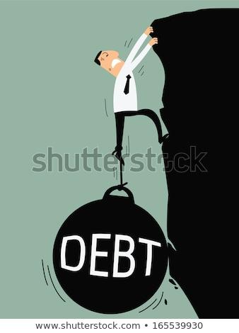 aşağı · borç · renkli · 3D · render · kötü - stok fotoğraf © head-off