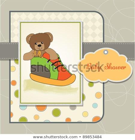 Prysznic karty miś ukryty buty miłości Zdjęcia stock © balasoiu