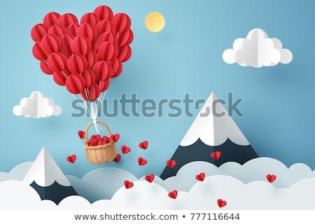 Foto d'archivio: Rosso · cuore · pallone · biglietto · d'auguri · cielo · nubi