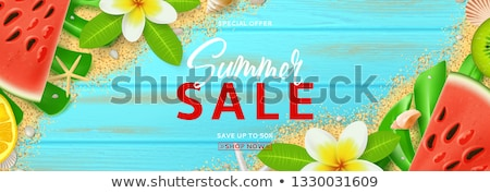 summer tropic banners with flowers and seashell vector illustration stock photo © carodi
