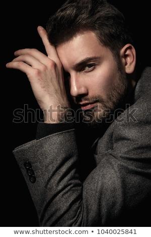 portre · yakışıklı · adam · 30s · deri · ceket · içme - stok fotoğraf © aladin66