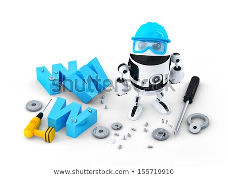 Robot with WWW sign. Website building or repair concept Stock photo © Kirill_M