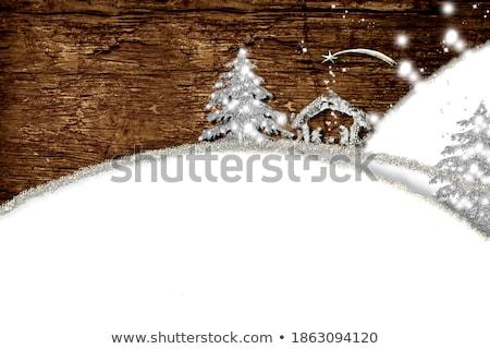 Vallásos karácsony kártyák jelenet arany mértani Stock fotó © marimorena