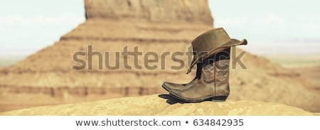 stivali · da · cowboy · Hat · valle · USA · panoramica · view - foto d'archivio © vwalakte