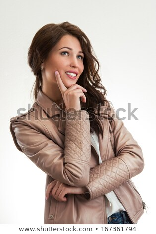 Positive girl dreaming and looking flirting and artful Stock photo © HASLOO