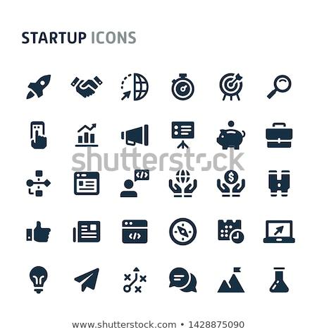 Preto negócio ícones vetor os ícones do web conjunto Foto stock © SergeyT
