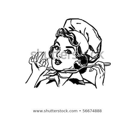 Senhora chef retro ilustração vetor formato Foto stock © balasoiu