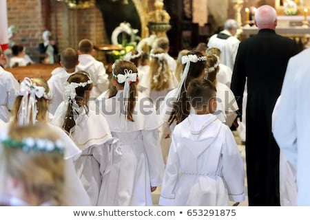 cheerful boy first communion in the church Stock photo © marimorena