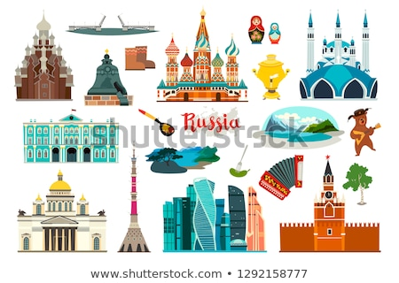 Cartoon Moskou skyline silhouet stad Rusland Stockfoto © blamb
