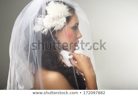 Engagement. Loveliness. Side view of Sincere Affectionate Woman in Veil Stock photo © gromovataya