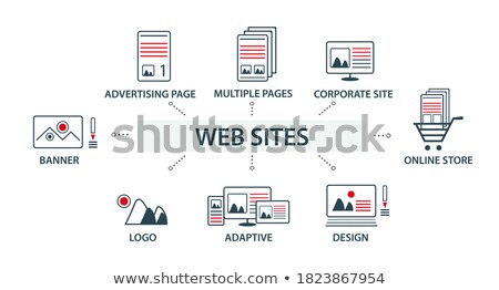 set of flat vector design illustration web icons and logos of website optimization isolated on styl stock photo © brainpencil