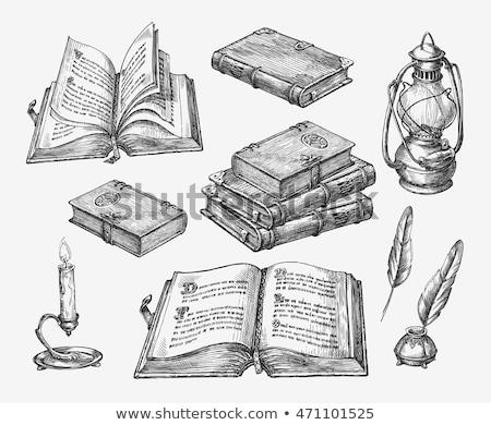 carte · deschisă · schiţă · icoană · vector · izolat - imagine de stoc © m_pavlov