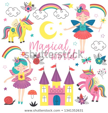 little cute princess and pony vector illustration stock photo © carodi