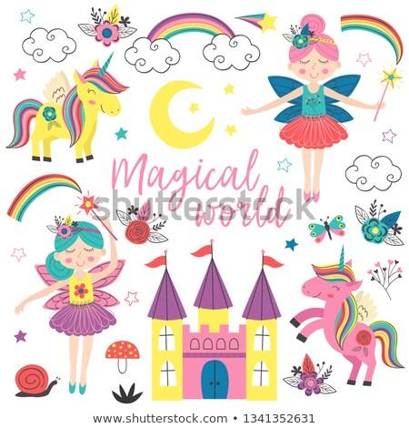 Weinig cute prinses pony meisje gebouw Stockfoto © carodi