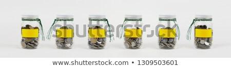 érmék lekvár bögre pénz biztonság asztal Stock fotó © monkey_business