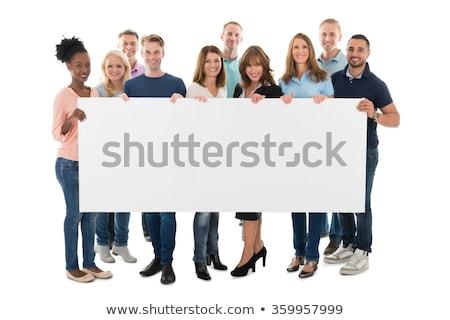 üzletember boldog üres tábla izolált teljes alakos stúdiófelvétel Stock fotó © dgilder