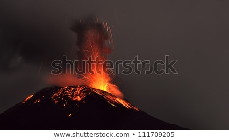 vulkán · kitörés · éjszaka · hó · Ecuador · tűz - stock fotó © xura