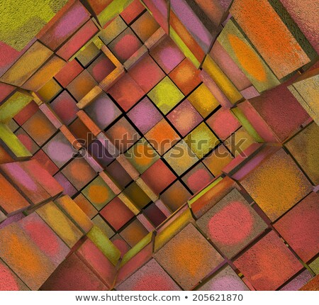 3d fragmented tiled graffiti labyrinth in multiple spray color  Stock photo © Melvin07