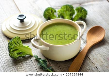 Brokoli çorba ahşap tablo tavuk et Stok fotoğraf © yelenayemchuk