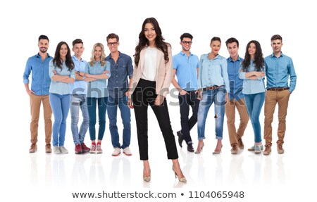 men standing with hands crossed and women lean on them Stock photo © feedough