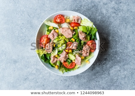 salada · de · atum · ingredientes · vegetal · atum · carne - foto stock © karammiri