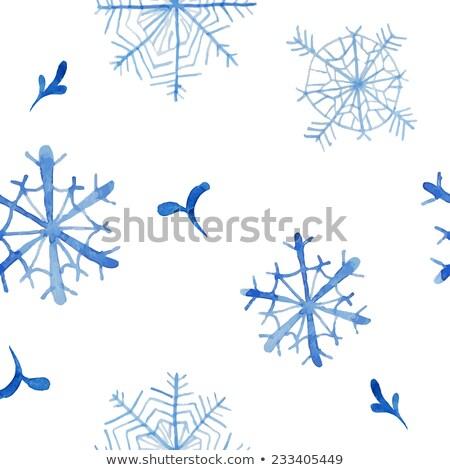 aquarelle snowflake, hand drawn watercolor winter symbol Stock photo © LittleCuckoo