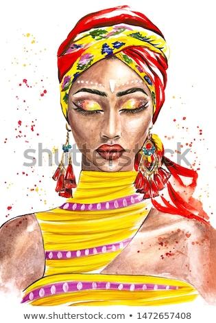 Mooie modieus vrouw gekleurd tulband Stockfoto © dashapetrenko