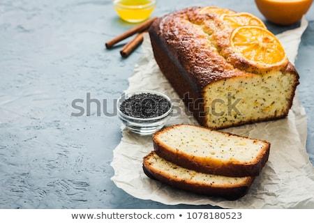 Haşhaş tohum kek kesmek yukarı yakın Stok fotoğraf © marekusz