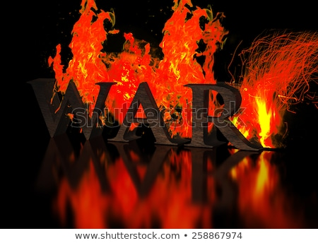Grunge Metallic Letters write WAR in Flames stock photo © ankarb