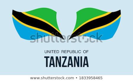 ストックフォト: 地図 · フラグ · ボタン · 共和国 · タンザニア · ベクトル