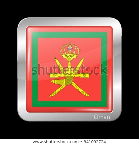 квадратный металл кнопки флаг Оман изолированный Сток-фото © MikhailMishchenko
