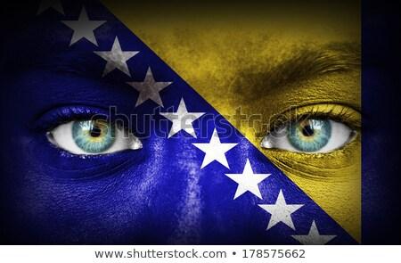 Personas bandera Bosnia Herzegovina aislado blanco multitud Foto stock © MikhailMishchenko