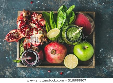Zdjęcia stock: Taca · świeże · owoce · drewna · jabłko