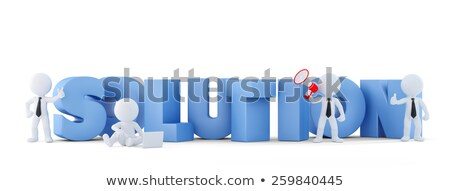 Group of businesspeople with SOLUTION sign. Business concept.Isolated. Contains clipping path. Stock photo © Kirill_M
