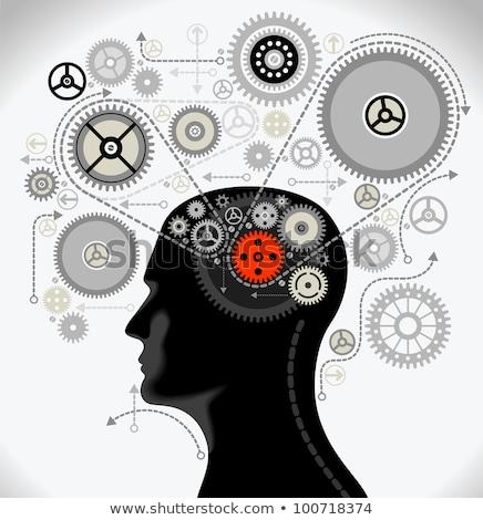 Foto stock: Human Head And Gears Brain Idea Concept